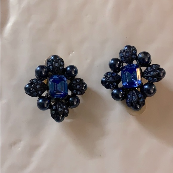 Joan Rivers Vintage Blue Clip-on Earrings